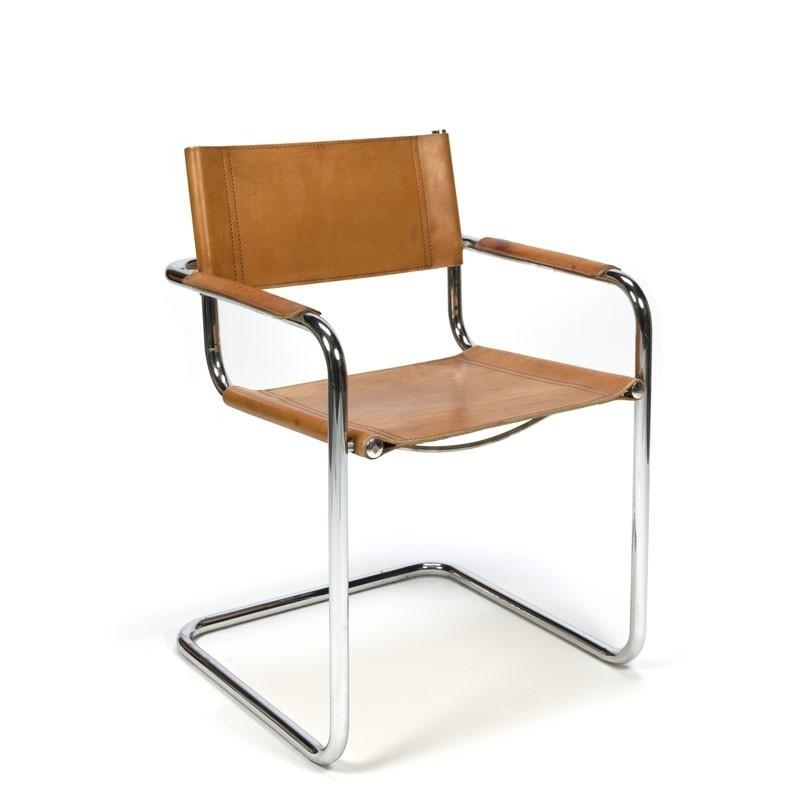 Vintage set van 4 slede stoelen met cognac tuigleer
