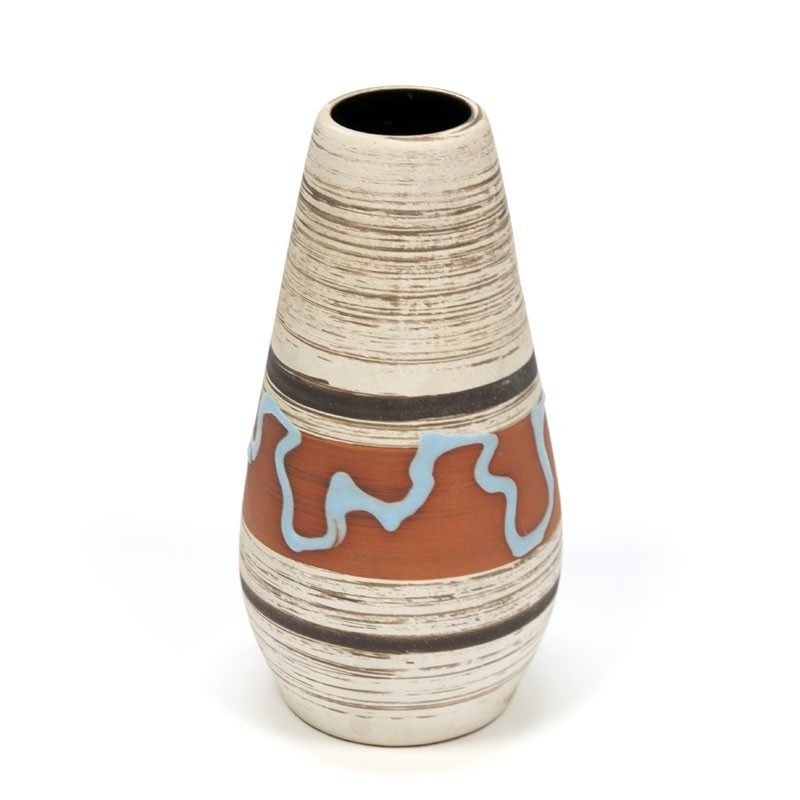 Vintage aardewerk vaas met blauw detail
