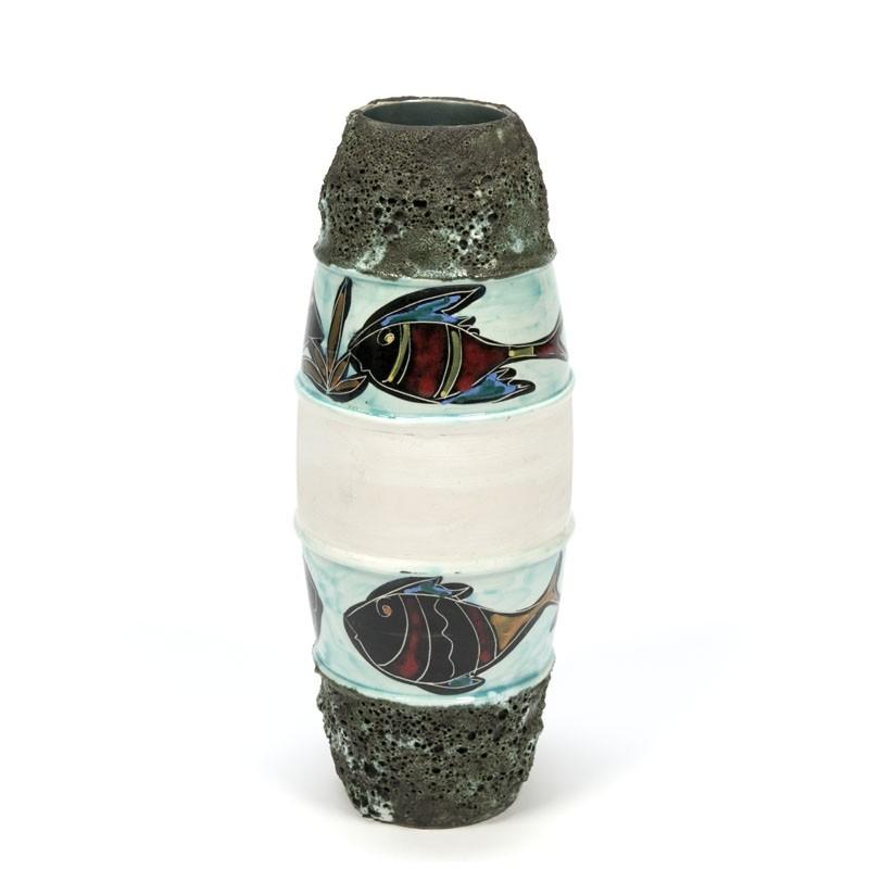 Vintage vaas met afbeelding van vissen