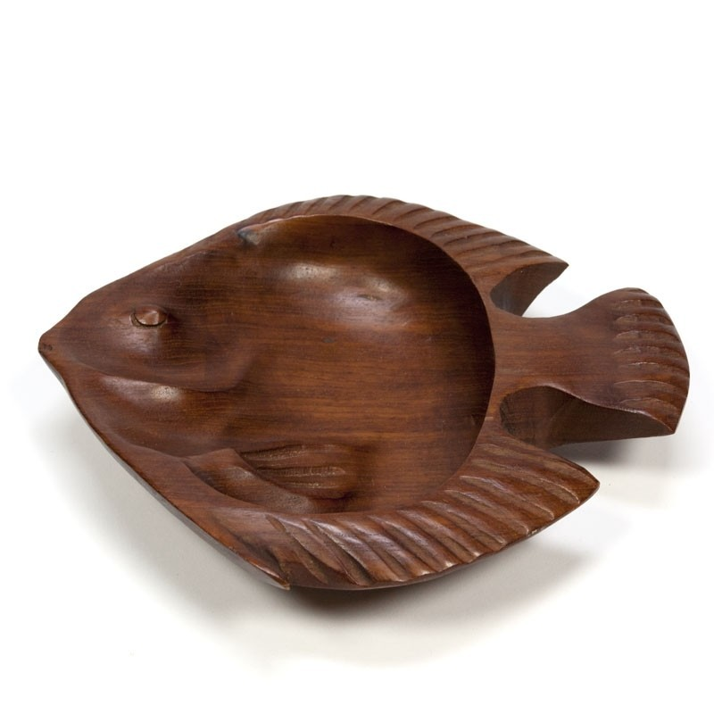 "Vintage small bowl in teak "" Fish"""