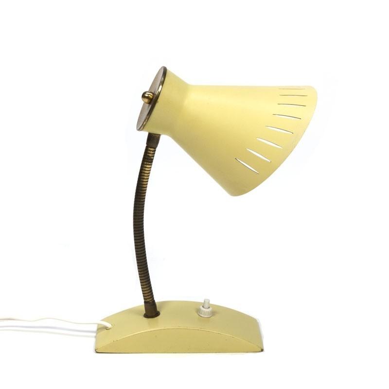 Geel/ messing vintage tafellampje jaren vijftig