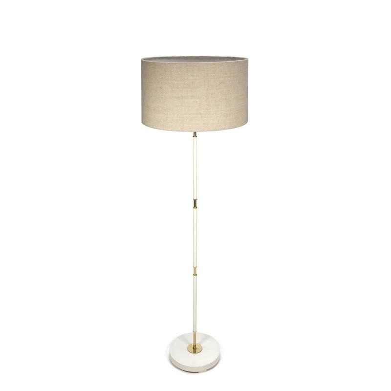 Staande vintage vloerlamp met messing details