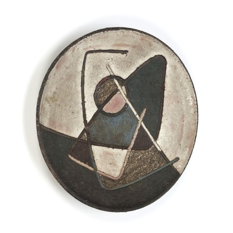 Vintage aardewerken schaal/ wandobject vijftiger jaren