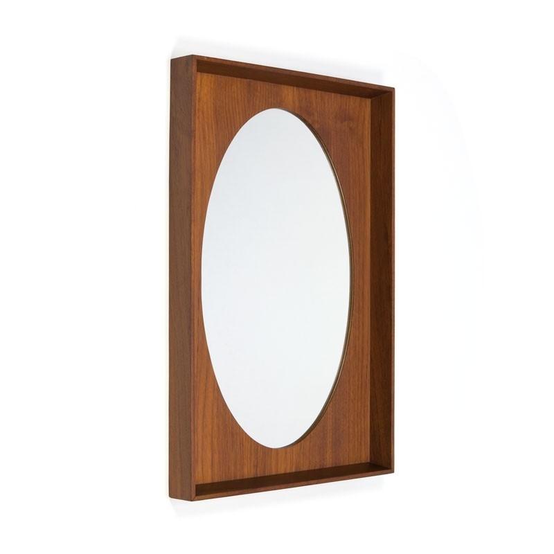 Vintage ovale Deense spiegel in teakhouten lijst