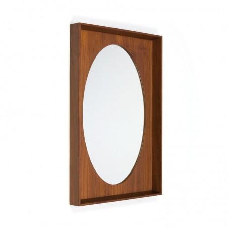 Vintage oval mirror in Danish teak frame