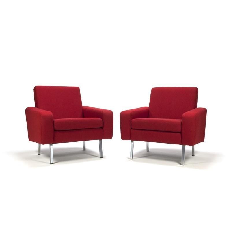 Set van 2 Vintage fauteuils met rode bekleding