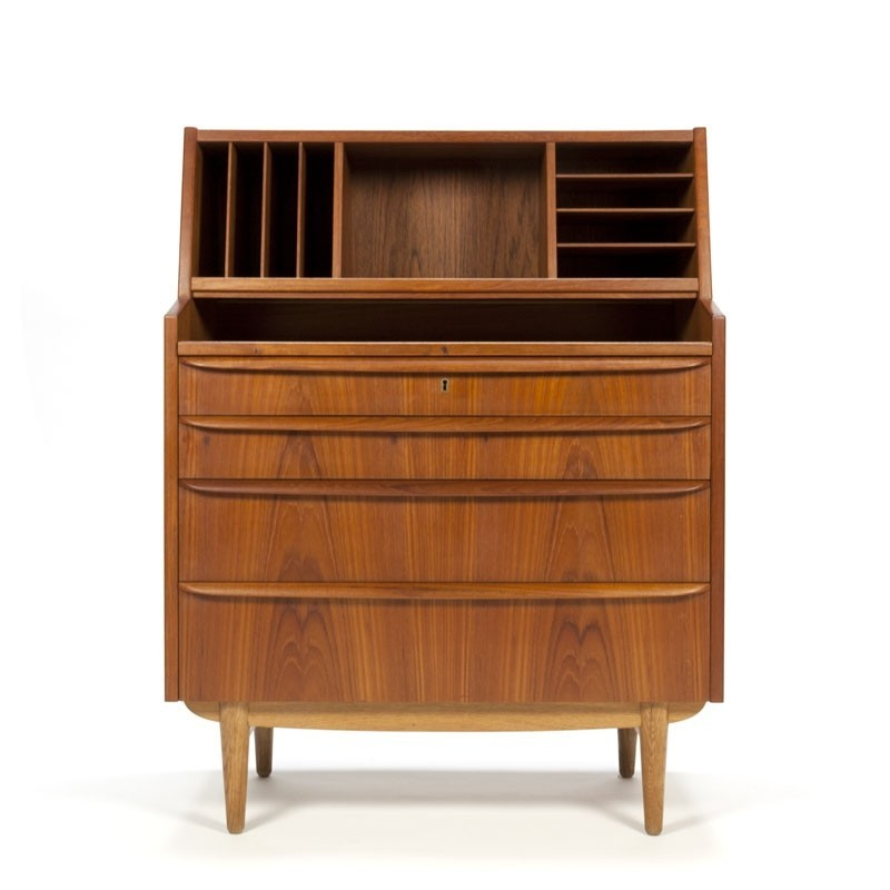 Vintage Danish secretary cabinet in teak