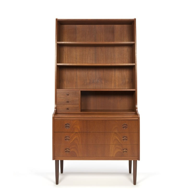 Vintage Deense secretaire/ boekenkast in teakhout