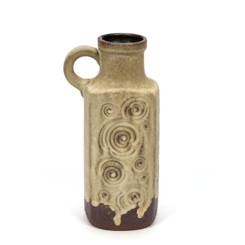 Vintage aardewerk vaas bruin tint met cirkels