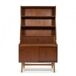 Danish vintage bookcase with worktop in teak