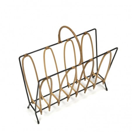 Vintage magazine holder metal with bamboo