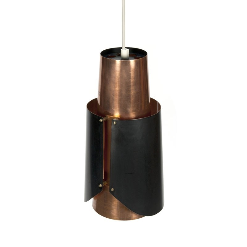Vintage Scandinavische hanglamp in koper