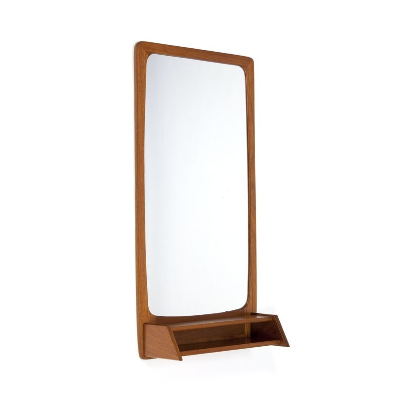 Vintage Danish teak mirror with small compartment