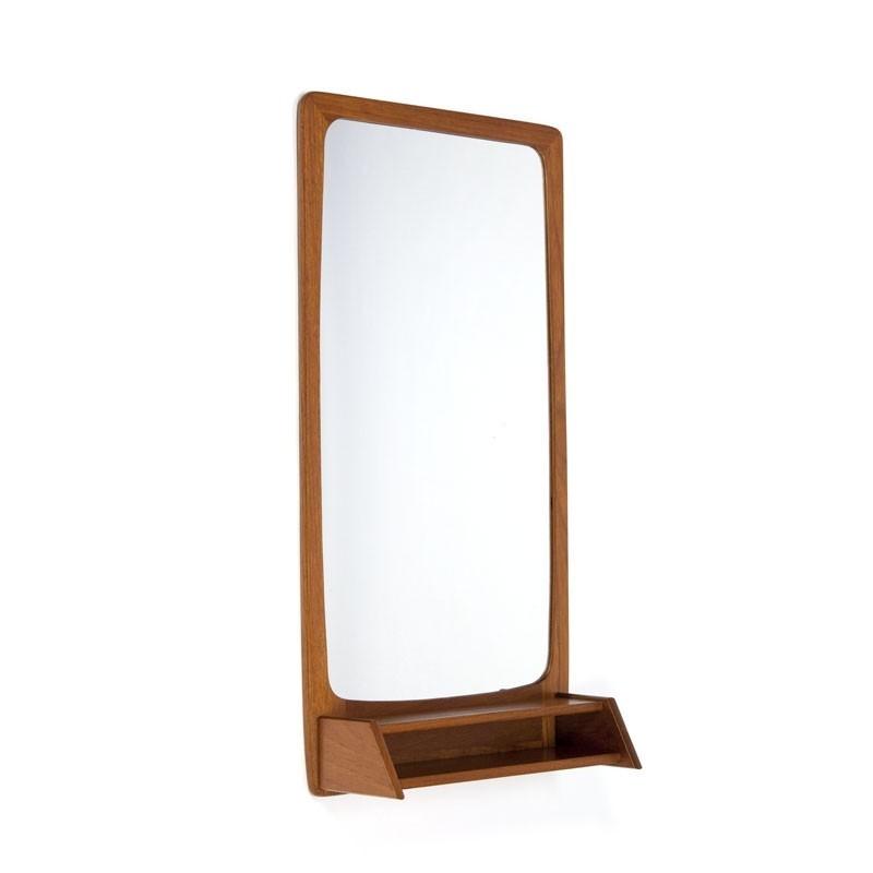 Vintage Deense teakhouten spiegel met vakje