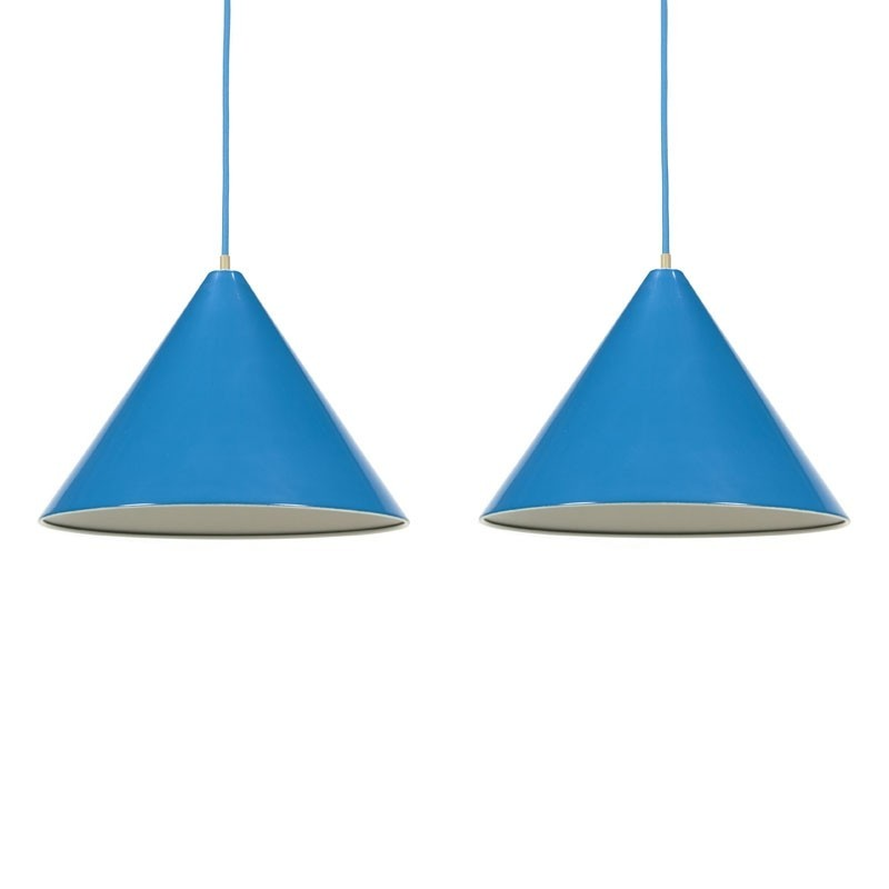 Vintage set of 2 enamel Louis Poulsen lamps