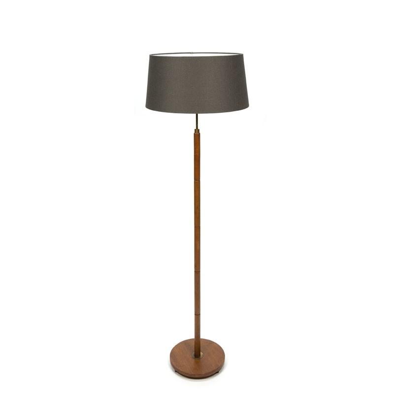 Teakhouten vintage vloerlamp met stoffen kap