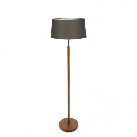 Teak vintage floor lamp with fabric shade