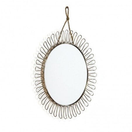 Vintage brass sun mirror small