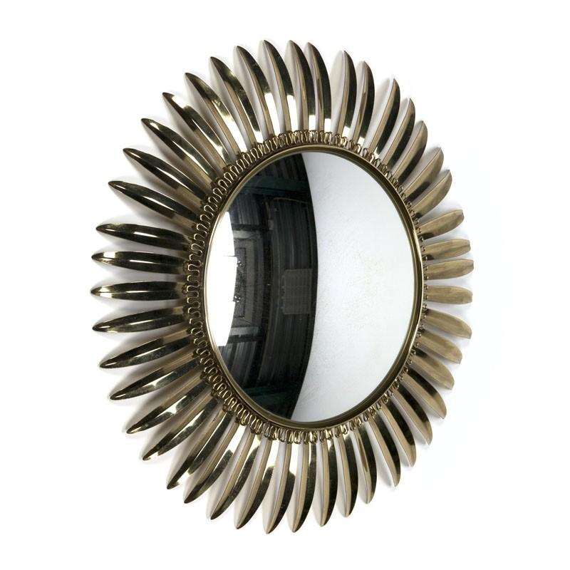 Vintage brass sun mirror