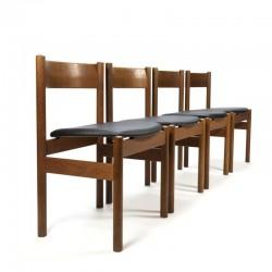 Deense vintage set van 4 eettafel stoelen van FDB