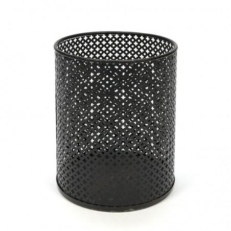 Vintage perforated metal wastepaper basket