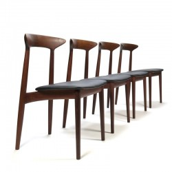Luxe vintage Deense set van 4 eettafel stoelen