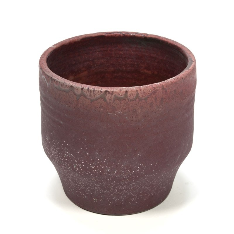 Vintage pink earthenware flowerpot by Mobach