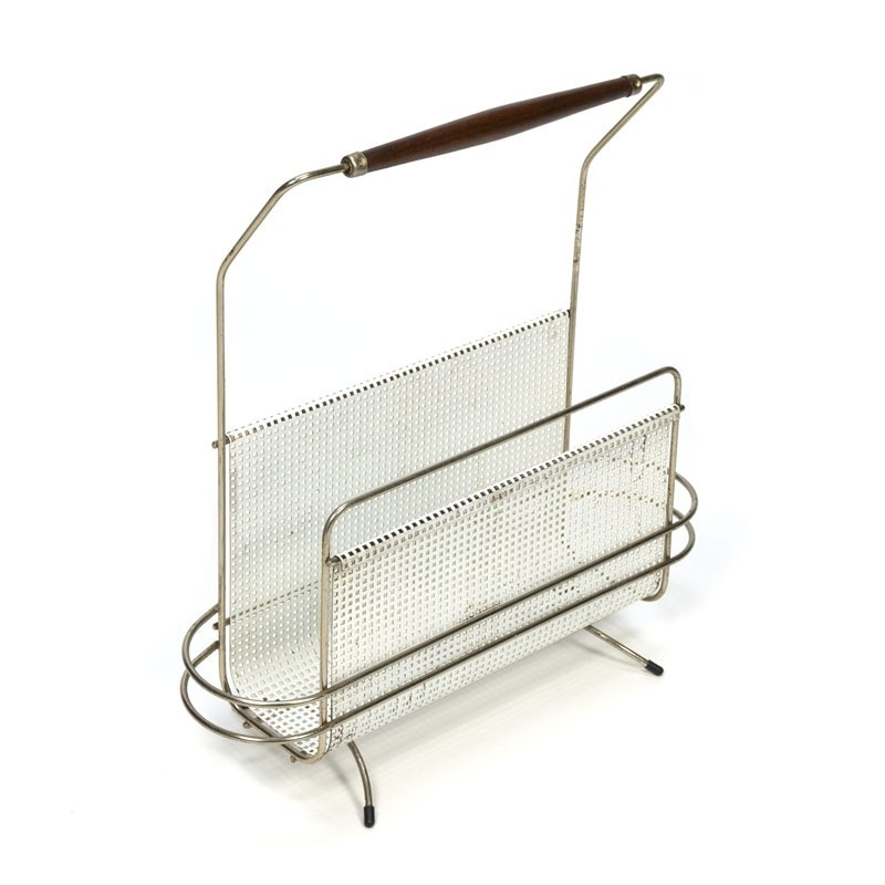 Perforated vintage metal magazine holder