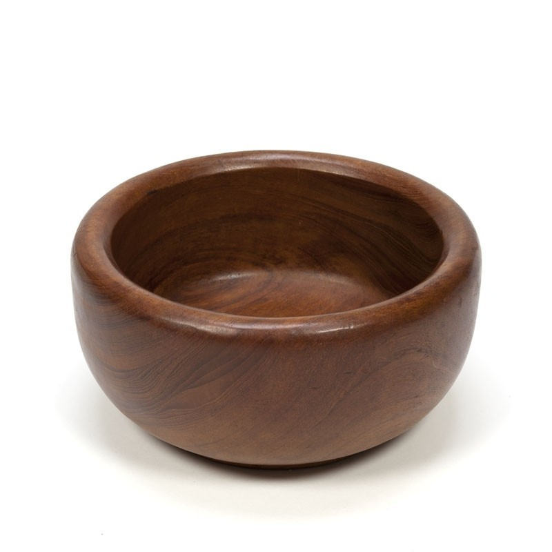 Vintage teak bowl with wide brim
