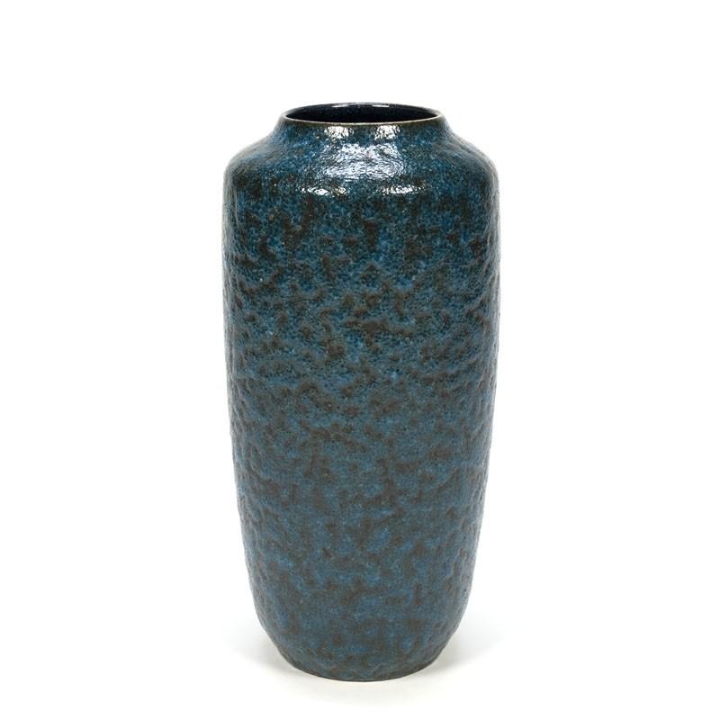 Grote blauwe vintage aardewerken vaas