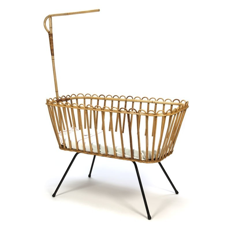 Vintage bamboo cradle by Rohe Noordwolde