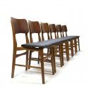 Vintage set van 6 teakhouten eettafel stoelen