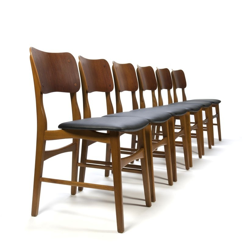 Vintage set of six teak dining table chairs