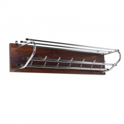 Vintage wall coat rack chrome with rosewood