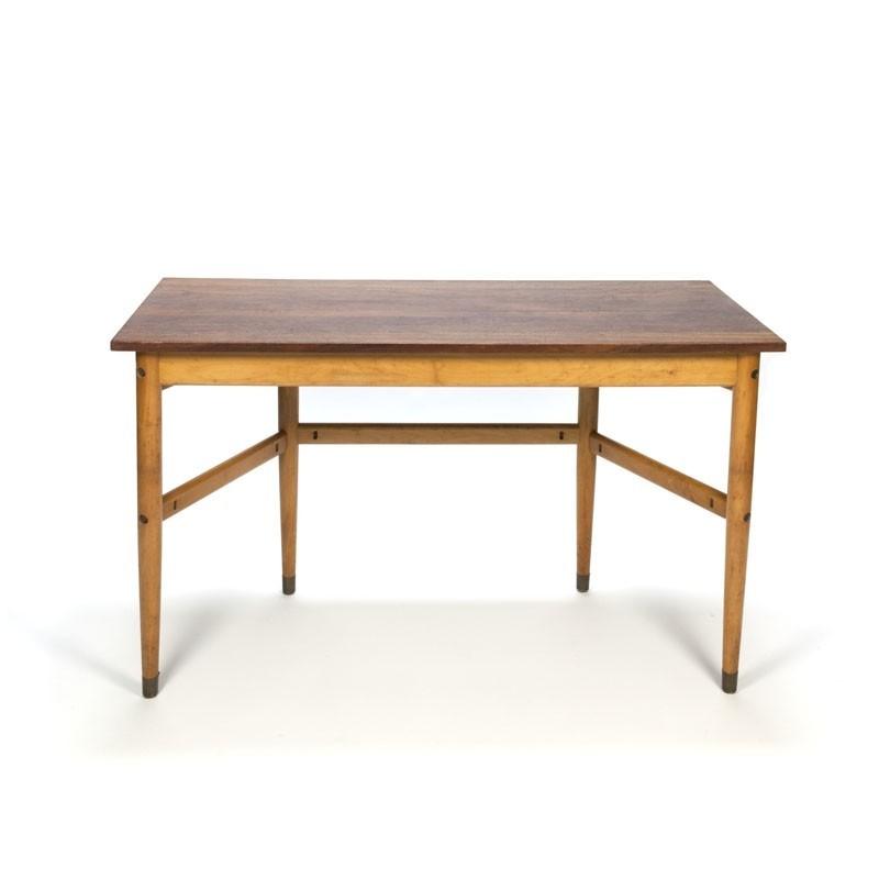 Vintage Deense schooltafel/ bureau met teak blad