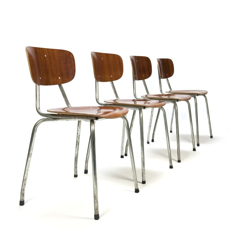 Danish vintage set of 4 industrial school chairs