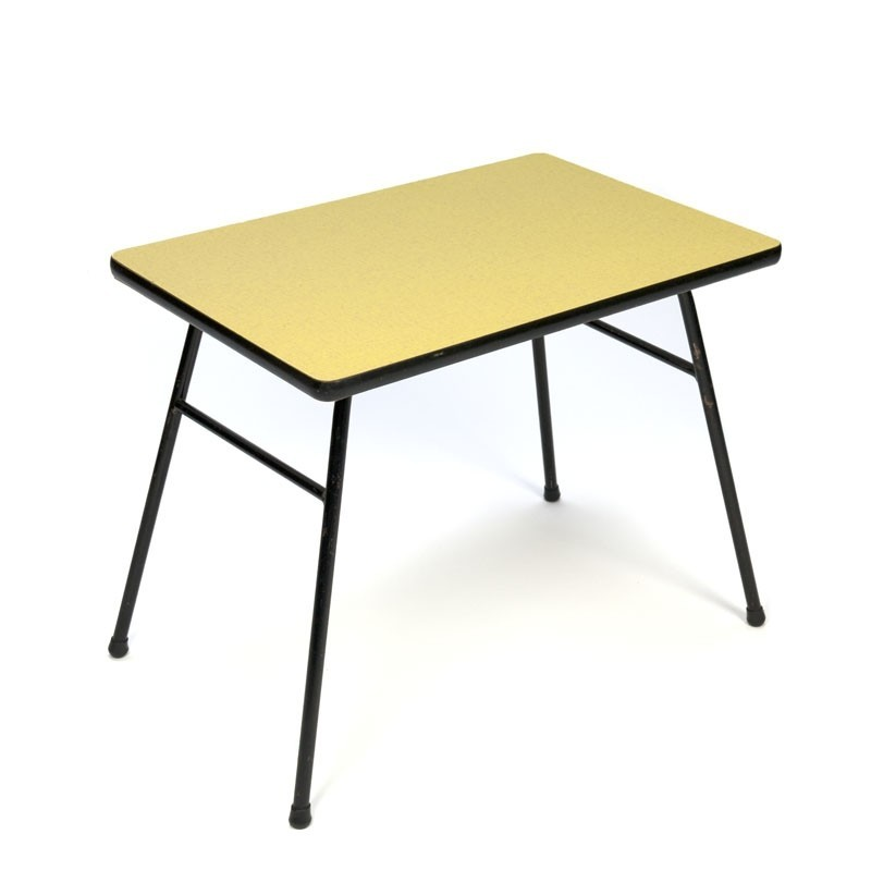 Vintage yellow Formica side table fifties