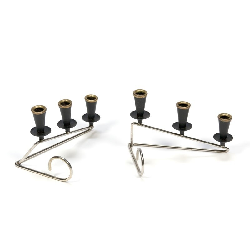 Vintage set with brass candlesticks fifties detail