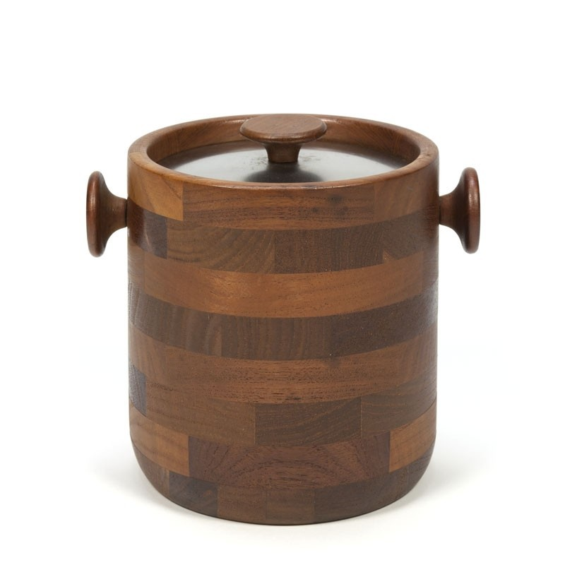 Vintage teak ice bucket design Viners of Sheffield