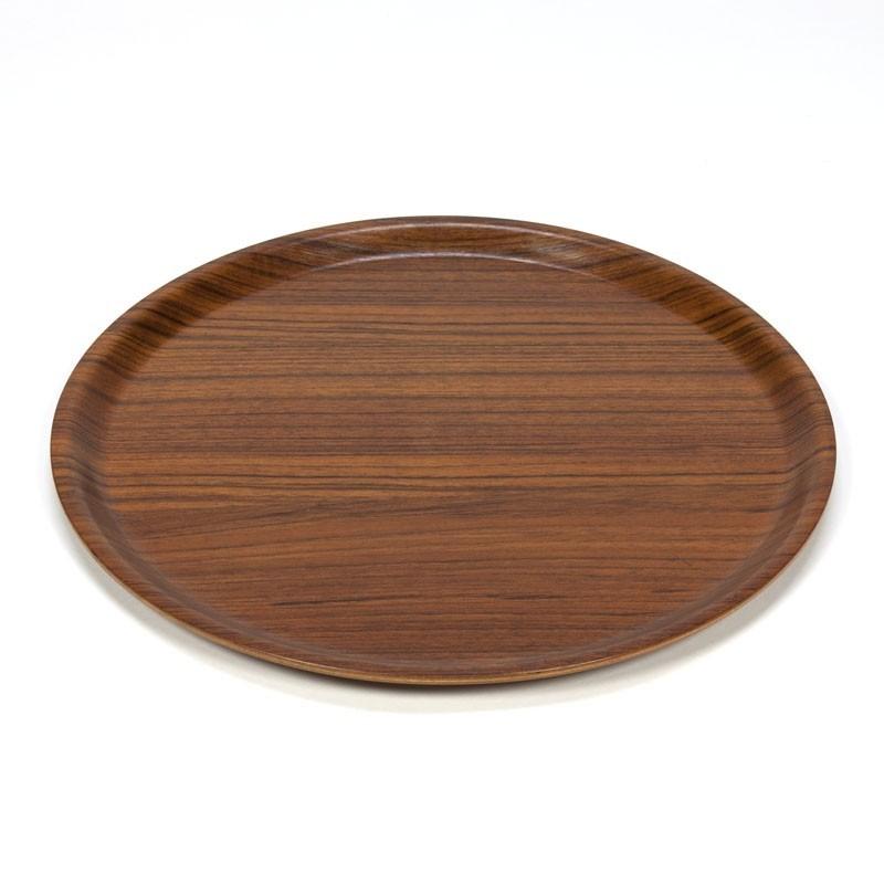 Round vintage serving tray teak