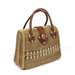 Vintage rattan handbag from the 50s