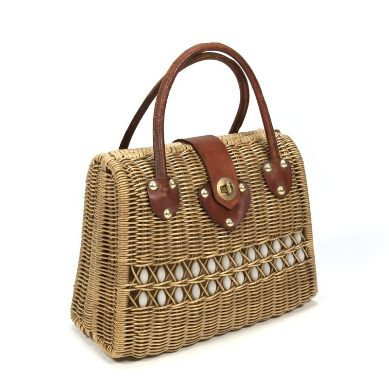 Vintage rattan handbag from the 50s
