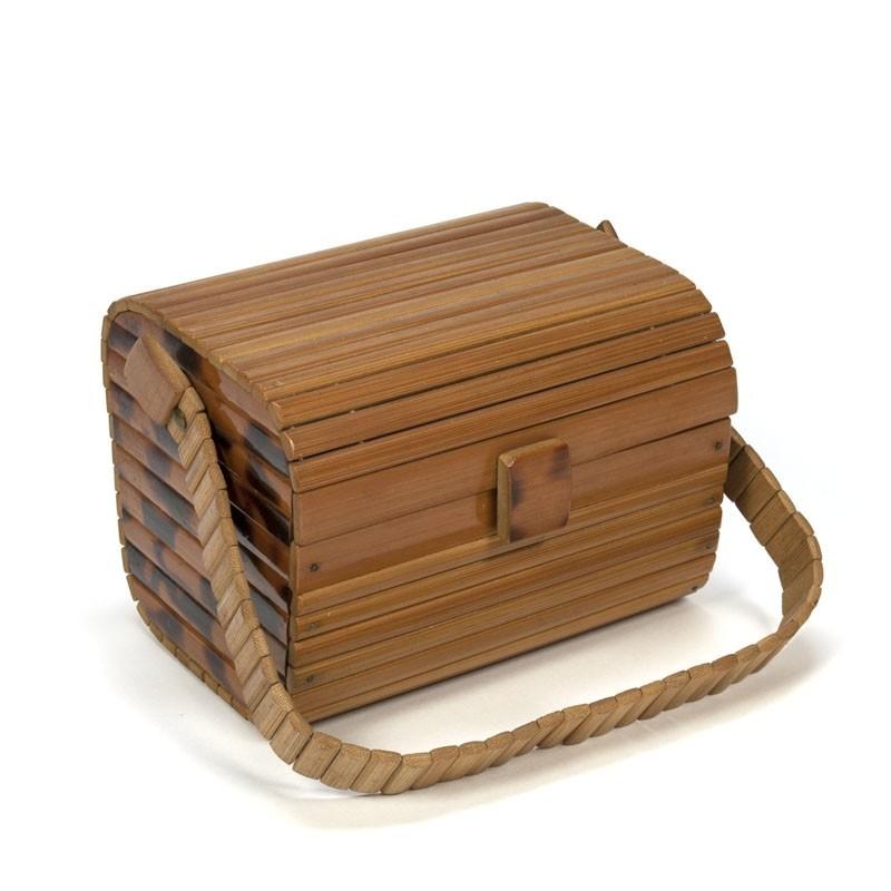 Vintage handtas van bamboe jaren 50