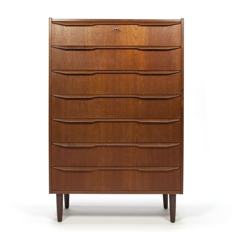Groot model Vintage Deense teakhouten ladekast