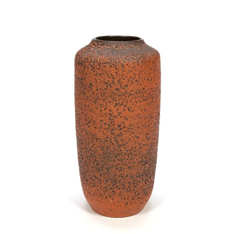 Large vintage orange Fat Lava vase
