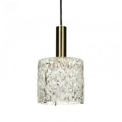 Vintage glazen hanglamp met messing details