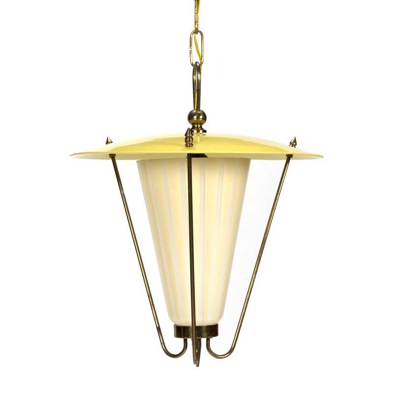 Vintage jaren vijftig gele hanglamp