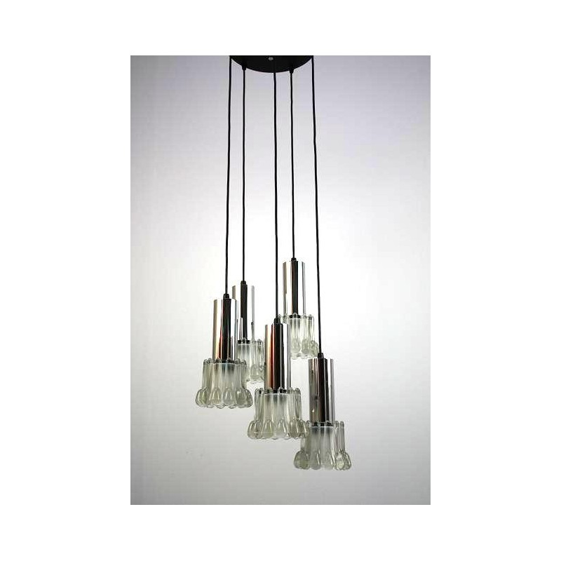 Hanging lamp with chrome/glass