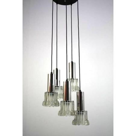 Jaren 60 hanglamp met 5 glazen kelken