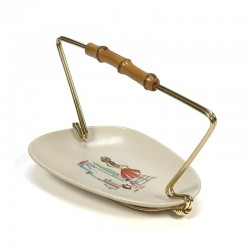 Vintage small serving dish pottery and brass